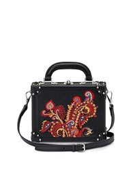 Bertoni Black Paisley Leather Mini Squared Bertoncina Bag