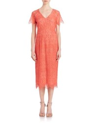 Shoshanna Corded Lace Beaux Dress Coral