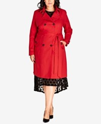 City Chic Trendy Plus Size Mystique Belted Trench Coat Vermillion