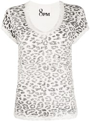 8Pm Leopard Print T Shirt White