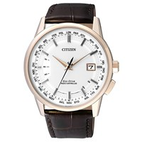 Citizen Cb0153 21A Men's World Perpetual At Date Leather Strap Watch Brown White