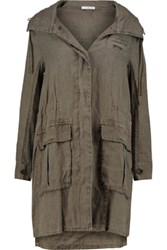 James Perse Linen Hooded Coat Army Green