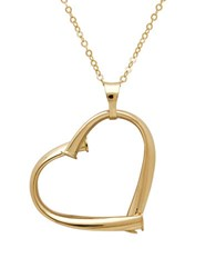 Lord And Taylor 14K Italian Gold Open Heart Pendant Necklace Yellow Gold