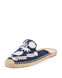 Soludos Ibiza Embroidered Canvas Mule Blue White