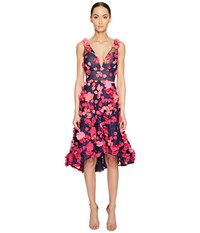 Marchesa Plunge High Low Cocktail W Flower Petals Navy Women's Dress