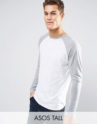 Asos Tall Long Sleeve T Shirt With Contrast Raglan White Grey