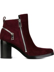 Kenzo Zip Detail Ankle Boots Red