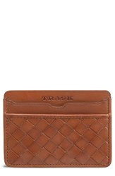 Trask Men's Woven Leather Card Case Brown Tan