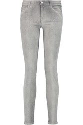 7 For All Mankind The Skinny Printed Low Rise Skinny Jeans Light Gray