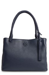 Tory Burch Taylor Triple Compartment Leather Tote Blue Tory Navy