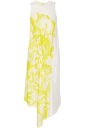 Issa Diantha Gathered Printed Satin Dress Yellow