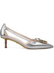 Gucci Metallic Leather Pump With Crystal Double G