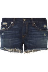 Rag And Bone Distressed Cut Off Denim Shorts Blue