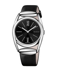 Gucci Horsebit Silvertone And Leather Watch Black
