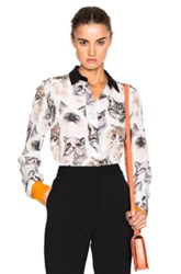 Stella Mccartney Cat Print Blouse In White Abstract White Abstract