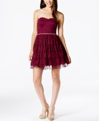 City Triangles Juniors' Embellished Strapless Lace Fit And Flare Dress Wine