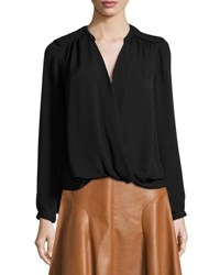 Rebecca Taylor Danielle Silk Surplice Wrap Top Black