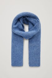Cos Fuzzy Ribbed Wool Scarf Blue