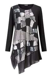 James Lakeland Sequin Cut Tunic Silver Metallic