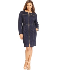 Inc International Concepts Plus Size Zip Front Belted Denim Sheath Dress Only At Macy's Indigo