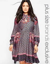 Alice And You Printed Skater Dress With Scarf Neck Multi