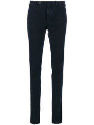 Pt01 Straight Leg Trousers Cotton Spandex Elastane Blue