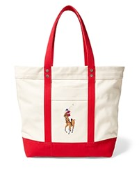 Polo Ralph Lauren Big Pony Multicolor Tote Bag Natural Red