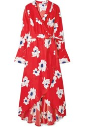 Equipment Gowin Floral Print Washed Silk Wrap Midi Dress Red