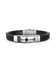 Forzieri Men's Rubber And Stainless Steel Anchor Bracelet Silver