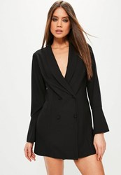 Missguided Black Crepe Flared Sleeve Tux Dress