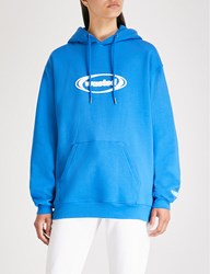Wasted Paris Ring Logo Print Cotton Jersey Hoody Blue