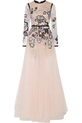 Elie Saab Metallic Embroidered Lace And Tulle Gown Pastel Pink