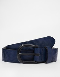 Asos Smart Belt In Navy Saffiano Leather Blue