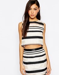 Jovonna Chop Crop Top In Stripe Black
