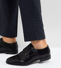 Asos Wide Fit Monk Shoes In Black Faux Leather With Emboss Panel Black