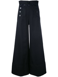 Chloe Sailor Button Wide Leg Trousers Women Cotton Wool 36 Blue