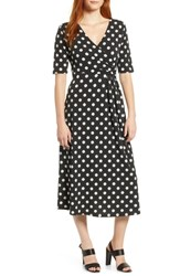 Chaus Double Dots Ruched Faux Wrap Dress Rich Black