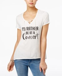 Rebellious One Juniors' Graphic Lace Up T Shirt Ivory