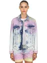 Zadig And Voltaire Tie Dyed Cotton Denim Jacket Blue Multi