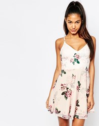 Ariana Grande For Lipsy Rose Print Strappy Tea Dress Multi Floral