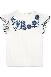 Red Valentino Redvalentino Lace Trimmed Embroidered Cotton Blouse White