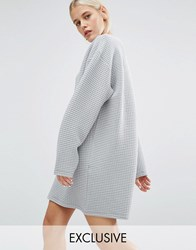 Monki Exclusive Oversized Grid Sweat Dress Grey Exclsuive