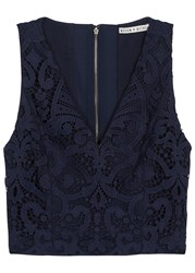 Alice Olivia Lyla Navy Cropped Lace Top Blue