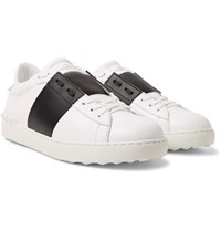 Valentino Open Striped Leather Sneakers White