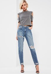Missguided Blue Cut Out Front Waistband Jeans