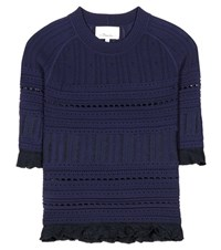 3.1 Phillip Lim Ruffle Trimmed Top Blue