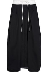Chloe Two Tone Cotton Twill Midi Skirt Navy
