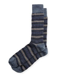 Neiman Marcus Houndstooth Striped Wool Socks Blue