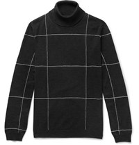 Dunhill Slim Fit Checked Embroidered Merino Wool Rollneck Sweater Charcoal