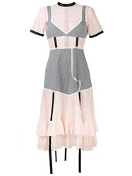 Sandy Liang Accord Gingham And Lace Dress Pink And Purple